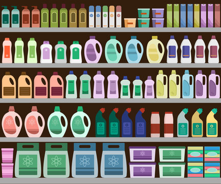 Household supplies aisle in the supermarket, shelves filled with cleaning products. Vector background.