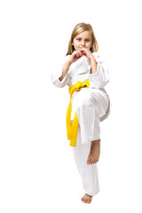 Portrait of little girl training ashihara martial art
