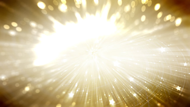 Golden abstract background holidays lights in motion blur image