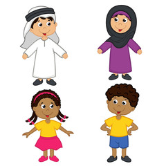 set of isolated children of muslim and african-american nationalities - vector illustration, eps