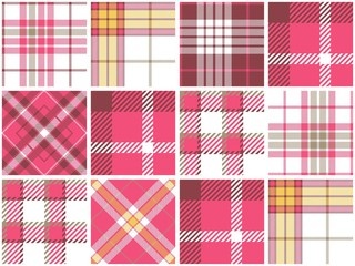 Pink Plaid Quilt Seamless Pattern