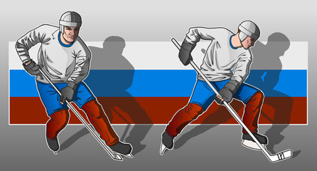 Hockey player on Russian flag background.