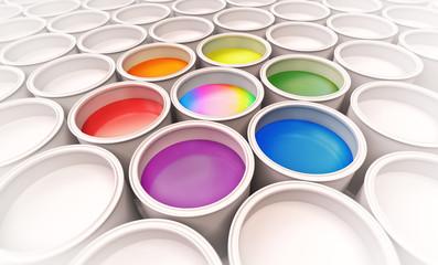 Wall Mural - spectrum colors paint buckets