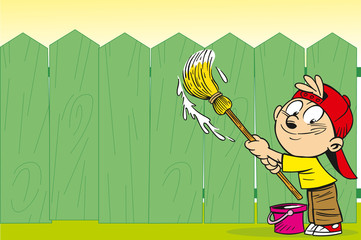 The illustration shows a fun cartoon boy who paints a fence green paint.
