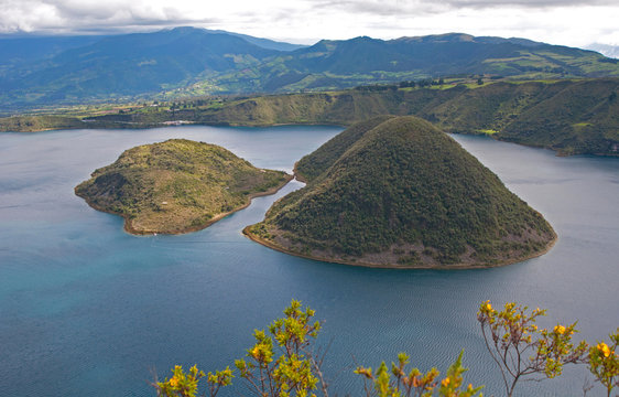 View of the Cuicocha lake and volcano crater, with its center islands. Cuicocha, Ecuador, South America.