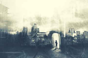 Man walking in a mystic dark city