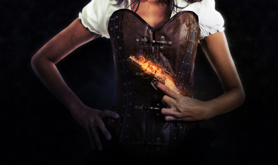 Female Assassin Holding Antique Flaming Pistol