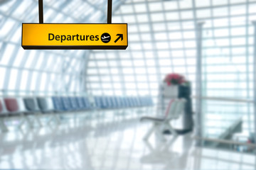 Wall Mural - Airport sign deporture and arrival board