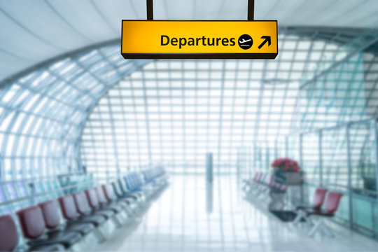 Airport sign deporture and arrival board