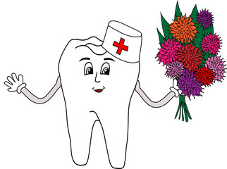 Drawn tooth doctor with flowers on a white background