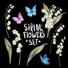 Set of watercolor Spring Nature elements