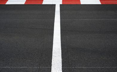 Start and Finish race line asphalt Grand Prix circuit