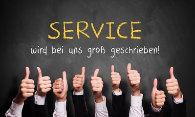 Daumen hoch zu Service