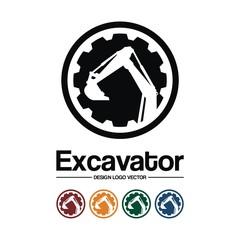 Excavator Design Logo Vector, Circle Gear Excavator Design Vector Logo Template