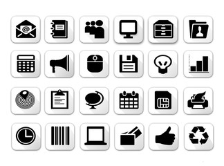 Black and white flat shadow icon sets