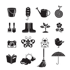 Spring Icons Set, Monochrome, Gardening, Housework, Appliance, Domestic Tools, Computer Icon, Cleaning, Symbol, Icon Set, Spring Season