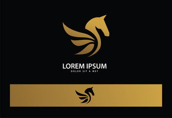 Gold Bird Logo Vector