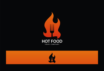 Hot Food Fire Fork Logo Vector