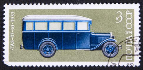 Почтовая марка СССР с изображением автомобиля ГАЗ-03-30, 1974 год