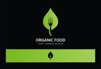 Organic Food Leaf Fork Logo Vector