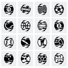Vector Fire sport balls icon set