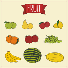 collection of fruits isolated