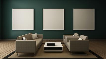 modern living room interior frame on wall