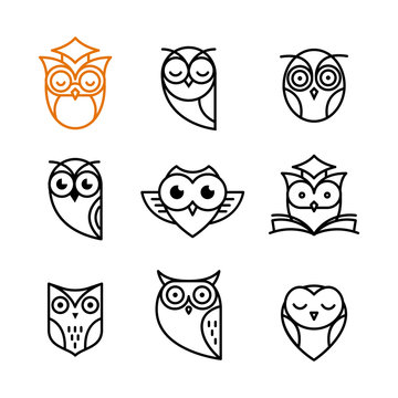 Owl outline icons collection