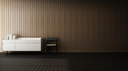 background wall grooving wood deck chair