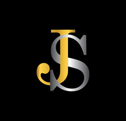 JS initial letter with gold and silver