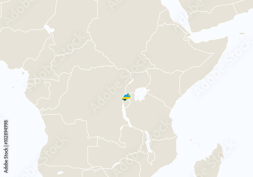 Africa with highlighted Rwanda map.\
