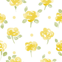 little cute watercolor flowers seamless vector pattern