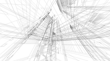 Abstract 3D rendering of matrix wireframe space.