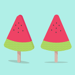 Watermelon ice cream on wooden stick. Flat design vector illustration.
