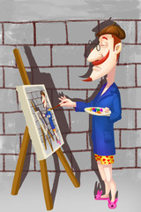 Creative Illustration and Innovative Art: The Narcissistic Artist is Painting himself in his Studio! Realistic Fantastic Cartoon Style Artwork Scene, Wallpaper, Story Background, Card Design