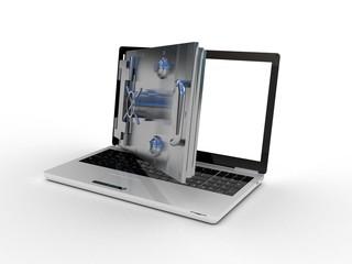Safe laptop on white background, 3D