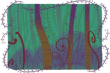 Creative Illustration and Innovative Art: Forest Card. Realistic Fantastic Cartoon Style Artwork Scene, Wallpaper, Story Background, Card Design