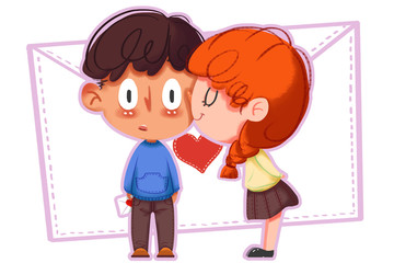 Creative Illustration and Innovative Art: Happy Valentine's Day Kissing, Boy and Girl. Realistic Fantastic Cartoon Style Artwork Scene, Wallpaper, Story Background, Card Design