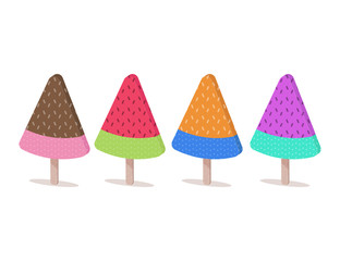 Fancy watermelon ice creams on wooden stick. Flat design vector illustration.