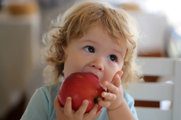 Portrait of kid eating apple