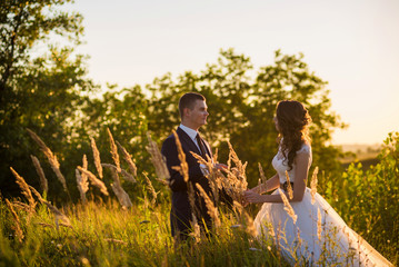 Young wedding couple in the field. Noise and toned image