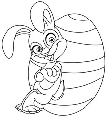 Outlined bunny with easter egg