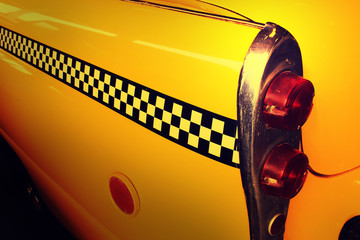 Yellow Cab Taxi, Back side of Taxi with Checker