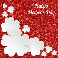 Happy Mothers Day or international womens day greeting card, holiday glitter dust sparkle red background with white paper flowers, vector illustration with place for text