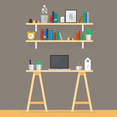 Working space in flat style