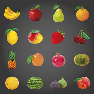 Fruits Icons Set, low poly vector