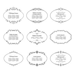 Vintage oval frames set isolated on white.