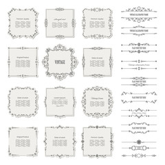 Vintage calligraphic frames and borders set isolated on white.