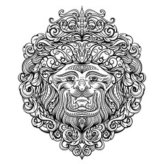 Lion Head with abstract ornament. Vintage tattoo art design, card, print, t-shirt, postcard, poster. Black and white hand drawn vector illustration