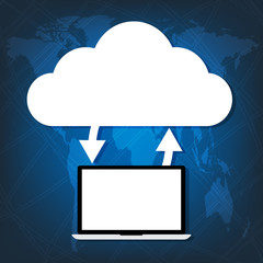 Computer laptop connected cloud on world map blue background.